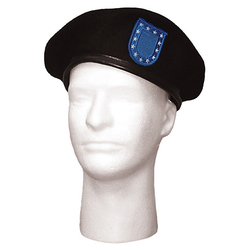 Baret US ČERNÝ s BLUE FLASH
